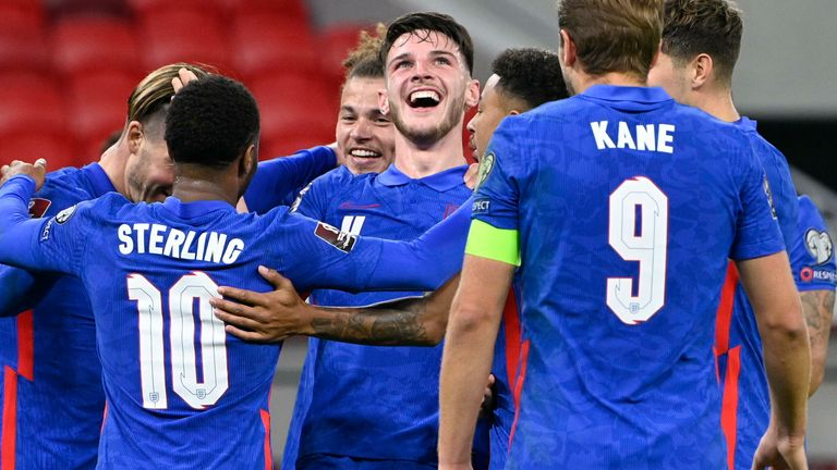 Declan Rice celebrates scoring in England's 4-0 win against Hungary