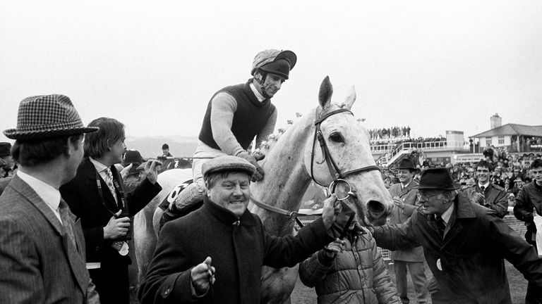 Desert Orchid is led back into the Cheltenham winner's enclosure after victory in the 1989 Gold Cup