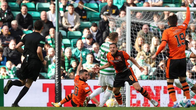 Dundee United have a penalty shout turned down