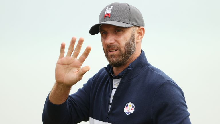Johnson waves to the crowd at Whistling Straits