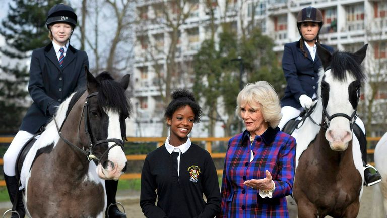 The Duchess of Cornwall meets young riders at the Ebony Horse Club in Brixton