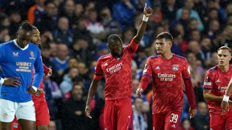 Karl Toko Ekambi celebrates his goal against Rangers