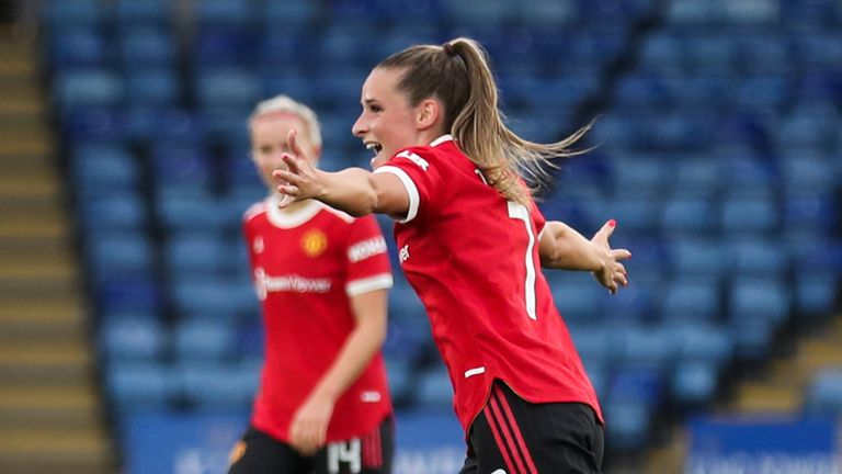 Manchester United's Ella Toone celebrates scoring their side's first goal of the game during the FA Women's Super League match at King Power Stadium, Leicester. Picture date: Sunday September 12, 2021.