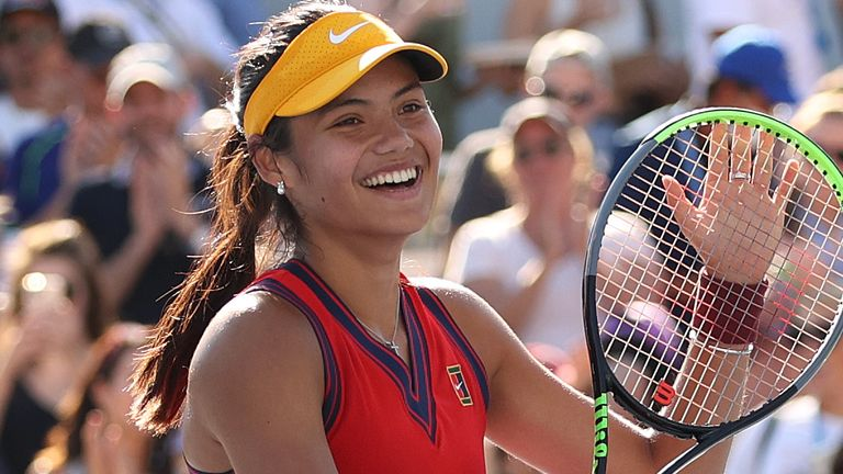 The British teenager celebrates her merciless performance against Sorribes Tormo on Court 10