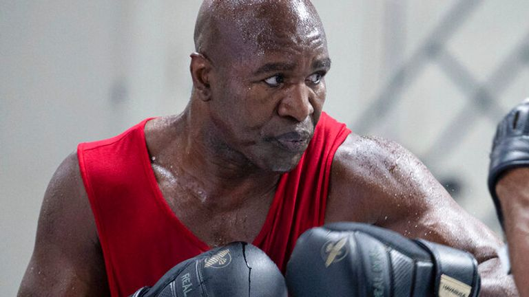 Former heavyweight boxing champion Evander Holyfield trains for an upcoming exhibition fight at The Heavyweight Factory on Friday, April 30, 2021 in Fort Lauderdale, Florida. (Alex Menendez via AP)