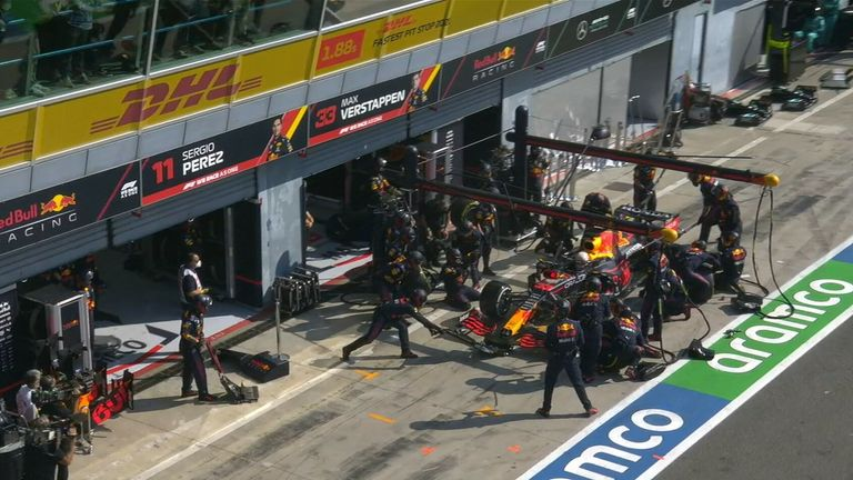 Max Verstappen took over 11 seconds in the pits as the Red Bull driver returned to the track in 10th place