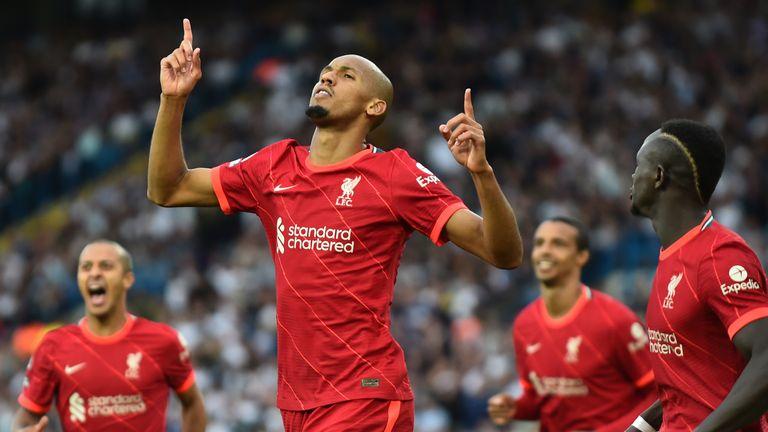 Liverpool's Fabinho celebrates after scoring against Leeds