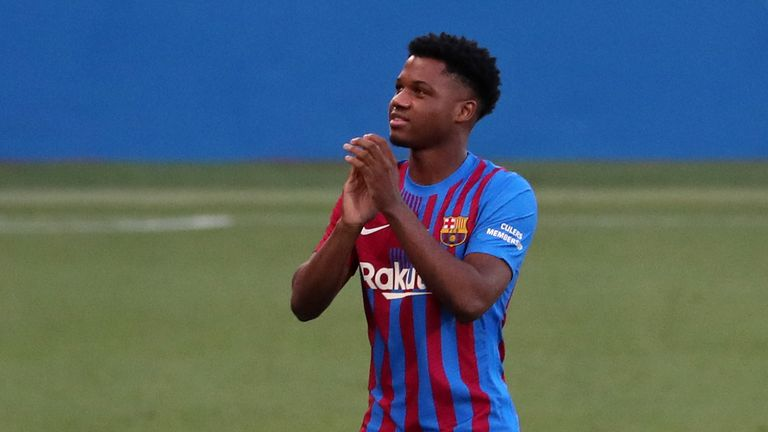 Ansu Fati during the presentation of the FC Barcelona squad for the 2021-22 season, on 08th August 2021, in Barcelona, Spain. (Photo by Joan Valls/Urbanandsport/NurPhoto).