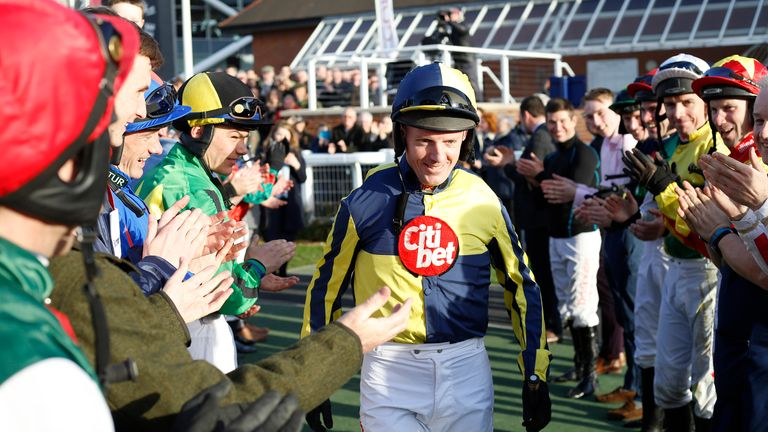 Noel Fehily heads out to ride Get In The Queue, his last ride before retiring in 2019
