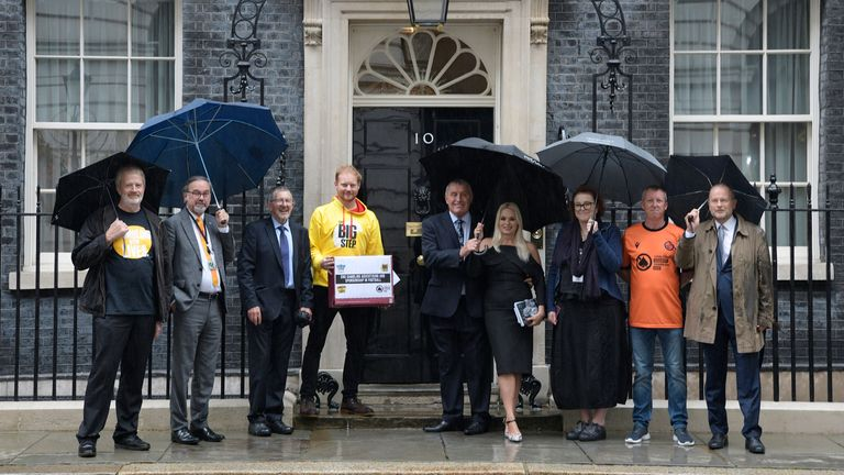 Peter Shilton and his wife Steph joined campaigners, including bereaved families who have lost loved ones to gambling-related suicide, to hand a petition in at 10 Downing Street..