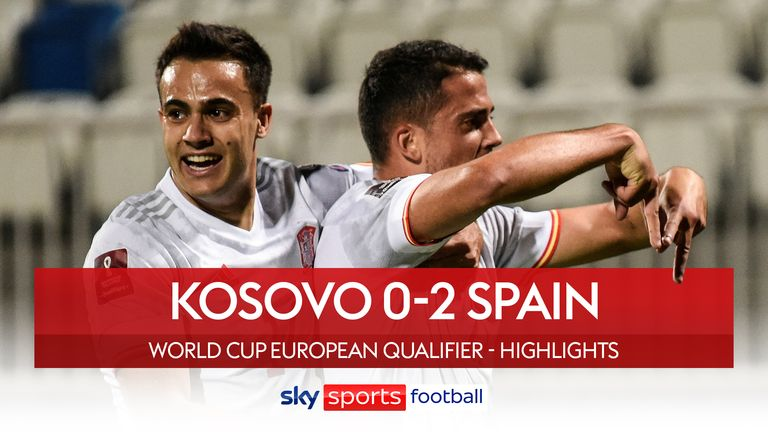 Highlights of the FIFA World Cup European Qualifying group B clash between Kosovo and Spain.