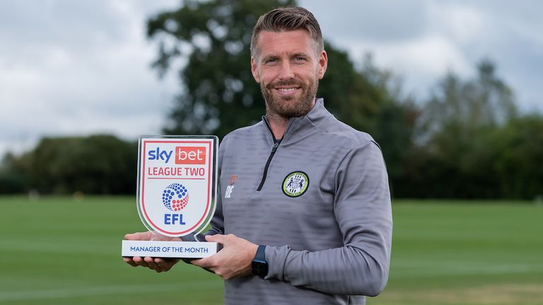 Forest Green Rovers Manager Rob Edwards wins the Manager of the Month for August 2021 - Mandatory by-line: Ryan Hiscott/JMP - 09/09/2021 - SPORT - Forest Green Training Ground - Chippenham, England - Sky Bet - League Two - Manager of the Month and Player of the Month