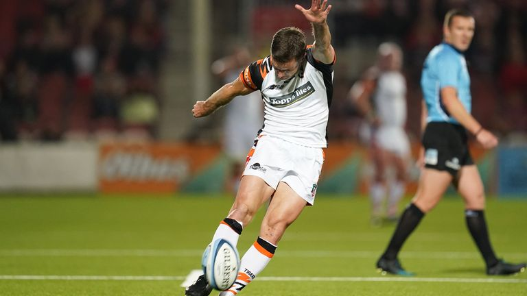 Gloucester Rugby v Leicester Tigers - Gallagher Premiership - Kingsholm Stadium Leicester Tigers George Ford converts their second try during the Gallagher Premiership match at the Kingsholm Stadium, Gloucester. Picture date: Friday September 24, 2021.