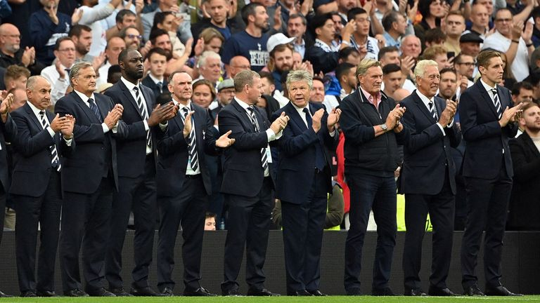 Getty: Former Spurs players pay tribute to Jimmy Greaves at the Tottenham Hotspur Stadium