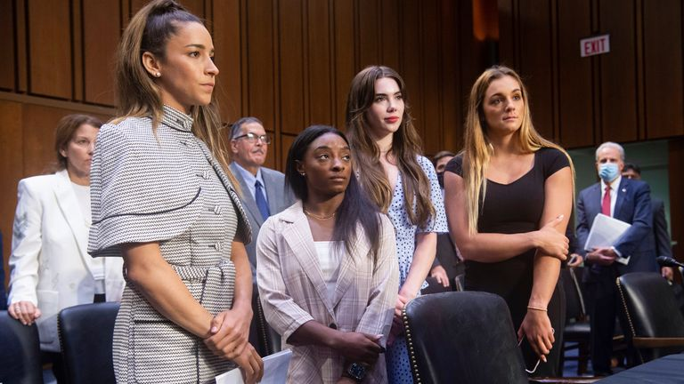 US Olympic gymnasts Aly Raisman, Simone Biles, McKayla Maroney and Maggie Nichols appeared before the Senate Judiciary Committee