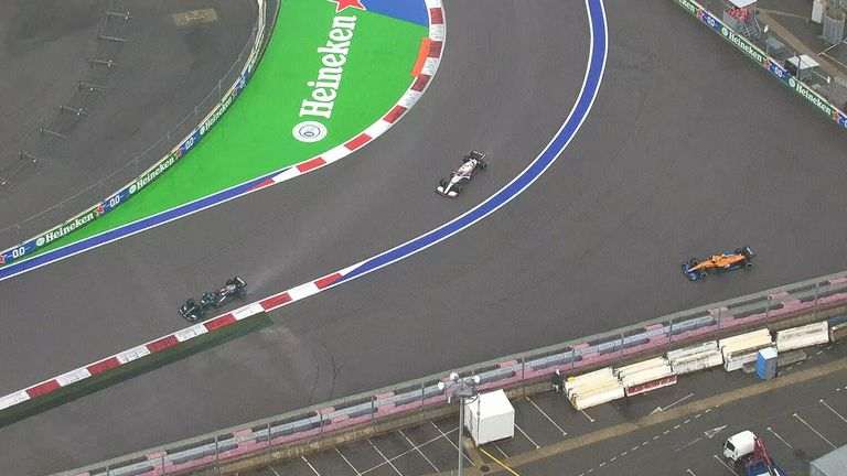 Norris has stayed out on slicks but he's struggling for grip and losing time and then spins off  Hamilton (on inters) has passed him and leads the race