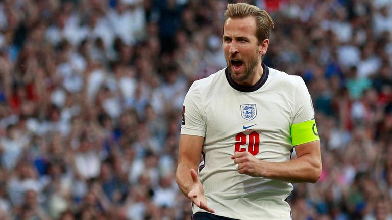 Harry Kane celebrates putting England 2-0 up from the penalty spot against Andorra