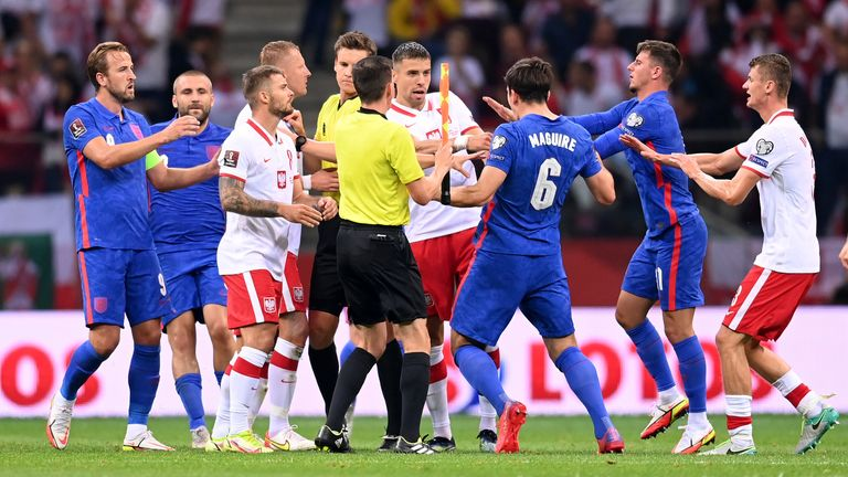 Harry Maguire was incensed by the incident and eventually shown a yellow card