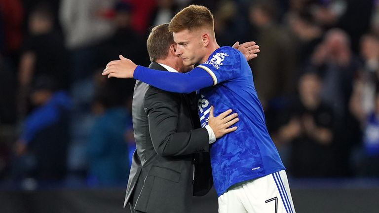 Harvey Barnes embraces Brendan Rodgers after the game