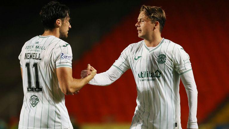 Scott Allan (right) celebrates his strike against Dundee Utd