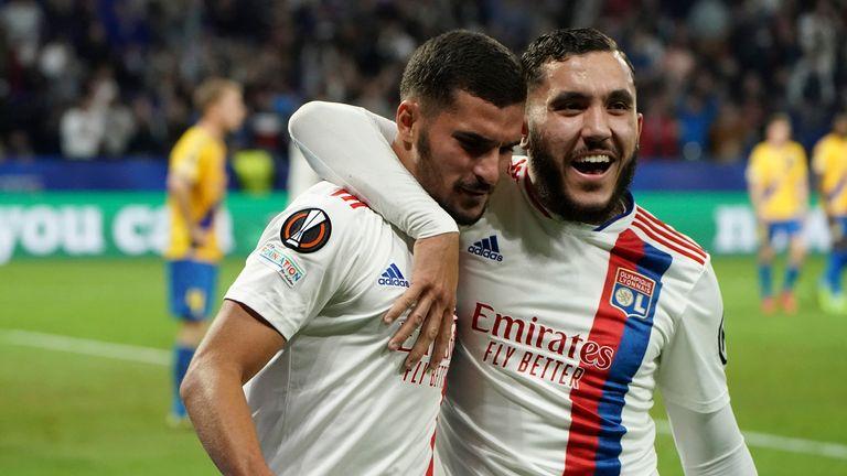 Lyon's Houssem Aouar celebrates after scoring his side's third goal