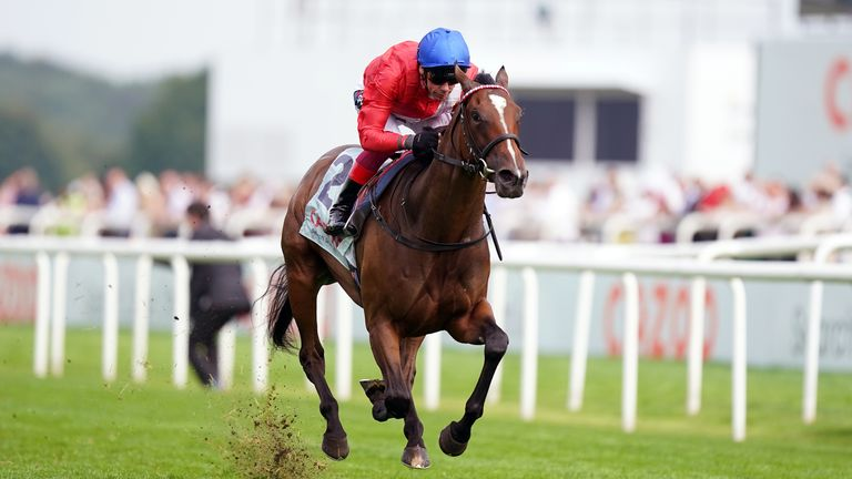 Frankie Dettori and Inspiral stretch clear to win the May Hill Stakes at Doncaster