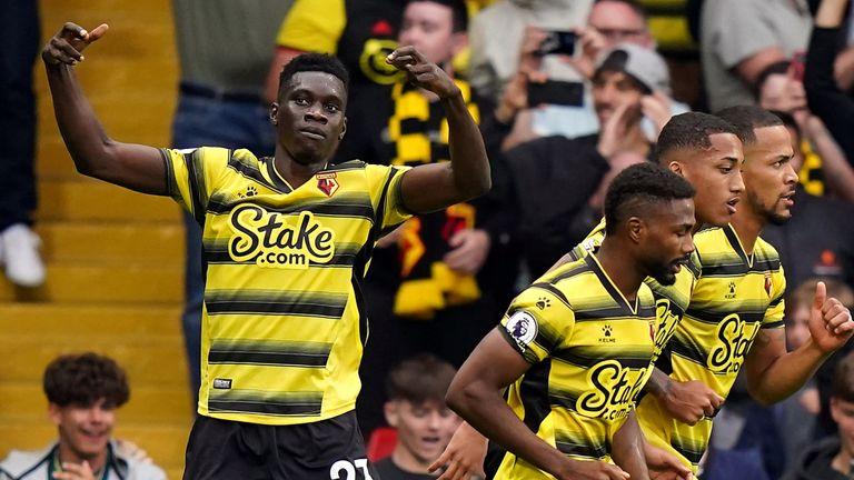 Ismaila celebrates Sir Watford's equalizer