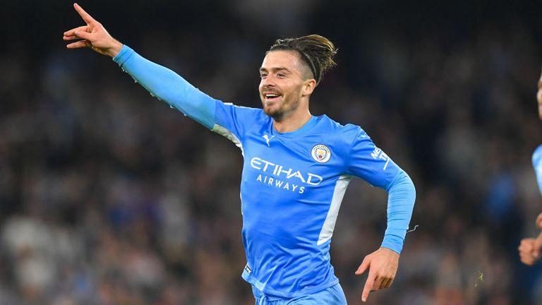 Jack Grealish celebrates Manchester City's fourth goal