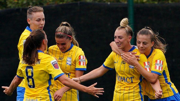 Birmingham City's Jade Pennock (centre) celebrates her equaliser