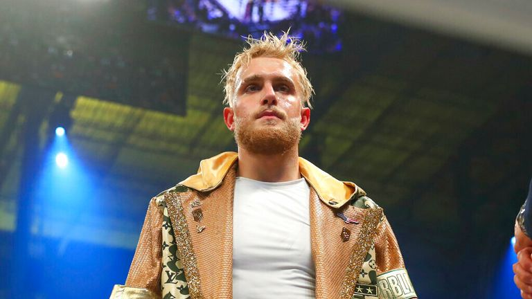Jake Paul of Los Angeles California enters the ring make his boxing pro debut on January 30, 2020 part of Matchroom Boxing and DAZN Miami Fight Night at the Meridian in Miami, Fl. (Photo by Rich Graessle/Icon Sportswire) (Icon Sportswire via AP Images)