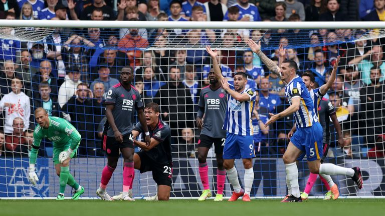 Brighton players appeal for a handball by Jannik Vestergaard of Leicester City