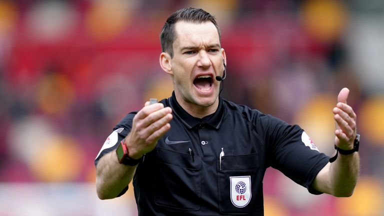 Jarred Gillett, referee during the Sky Bet Championship playoff semi final, second leg match at the Brentford Community Stadium, London. Picture date: Saturday May 22, 2021.