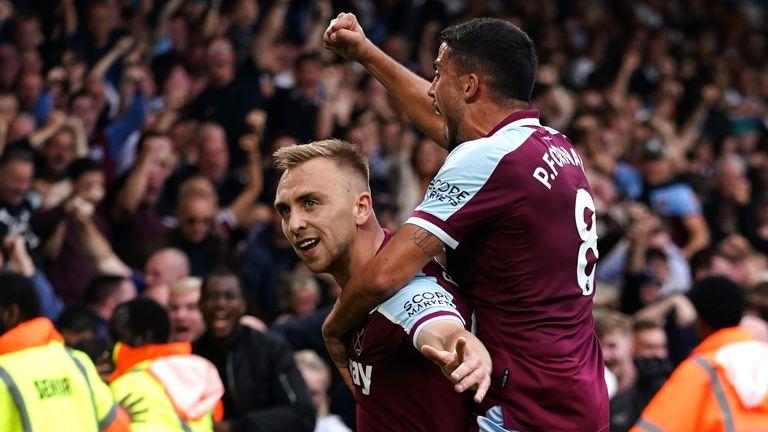 Jarrod Bowen celebrates West Ham's equalsier