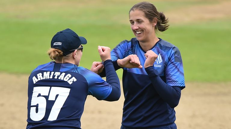 Jenny Gunn (right) took three wickets for Diamonds but her side still slipped to defeat