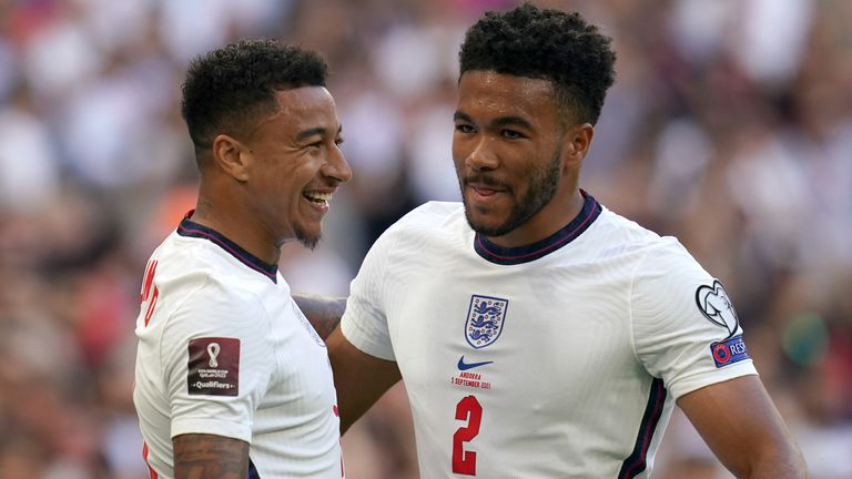 Jesse Lingard celebrates with Reece James after giving England the lead against Andorra