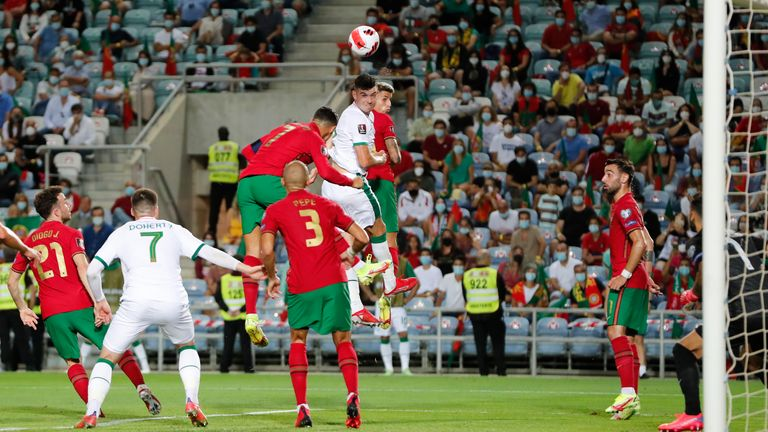 John Egan scores the opening goal for Republic of Ireland vs Portugal