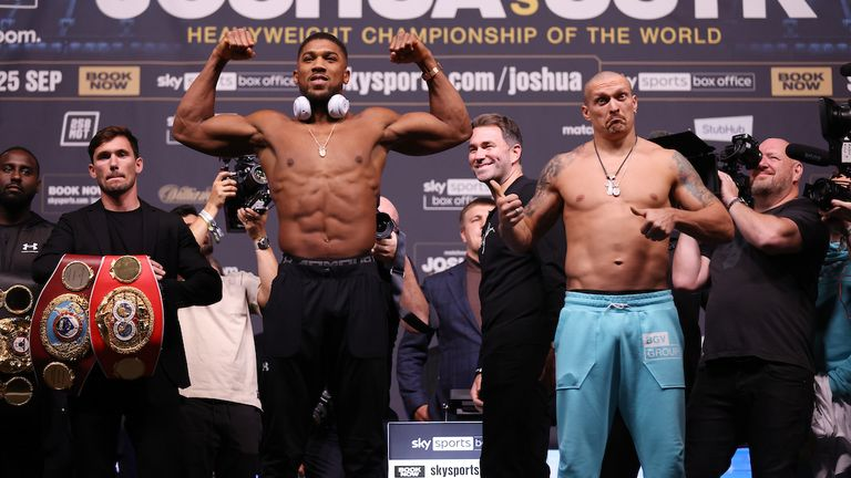 Anthony Joshua and Oleksander Usyk Weigh In ahead of their World Heavyweight Title clash tomorrow night at the Tottenham Hotspur Stadium in London.24 September 2021.Picture By Ian Walton Matchroom Boxing..The fighters face off.
