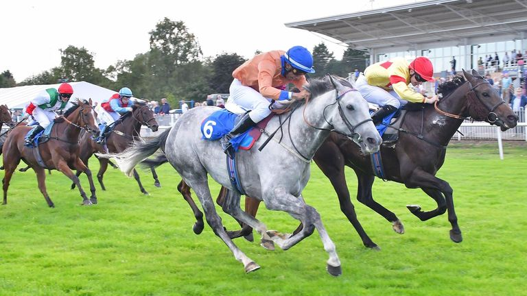 Kaiya Fraser (blue cap) rides Hi Ho Silver to win at Leicester on just his second ever professional ride. Credit: Tony Knapton