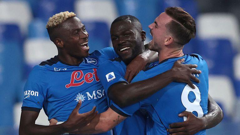 Kalidou Koulibaly celebrates Napoli's win over Juve