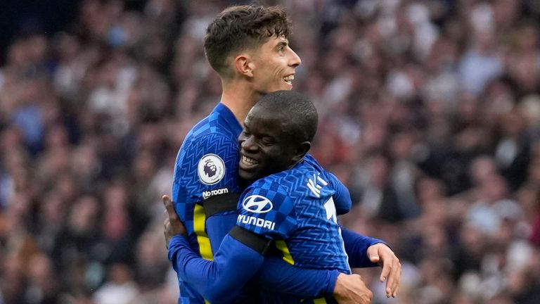 N'Golo Kante is embraced by Kai Havertz after his goal