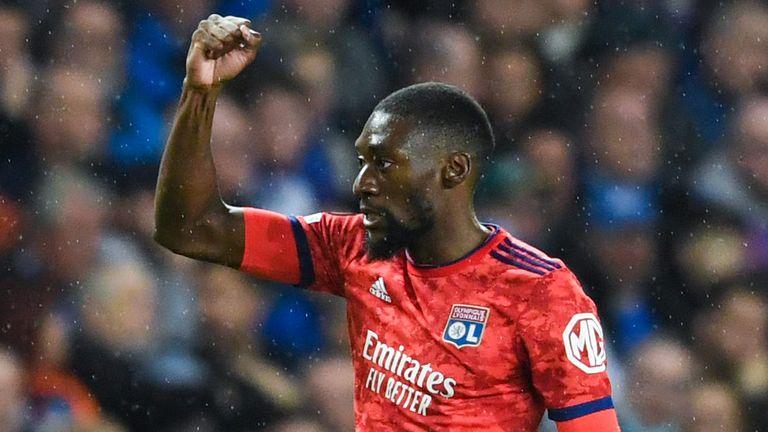 Lyon's Karl Toko Ekambi celebrates making it 1-0 during a UEFA Europa League group stage match between Rangers and Lyon