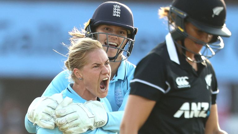 Katherine Brunt of England celebrates bowling Suzie Bates of New Zealand during the 3rd One Day International match between England and New Zealand at Uptonsteel County Ground on September 21, 2021 in Leicester, England