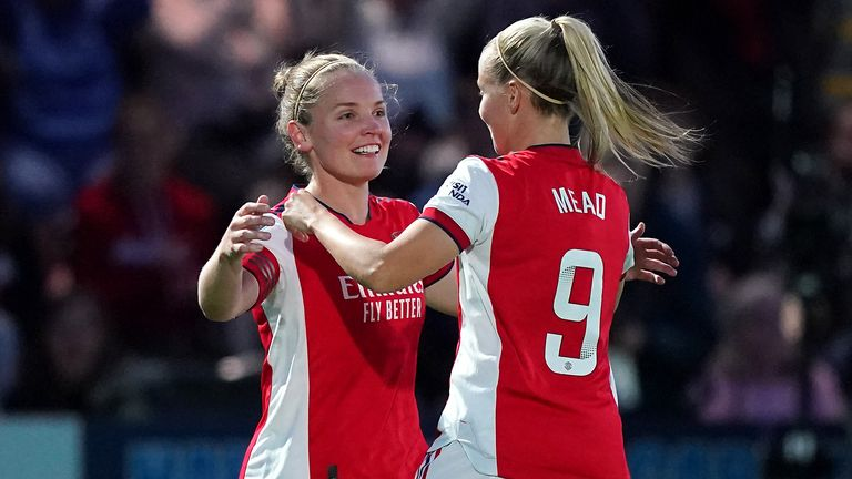 Kim Little celebrates her goal with Beth Mead
