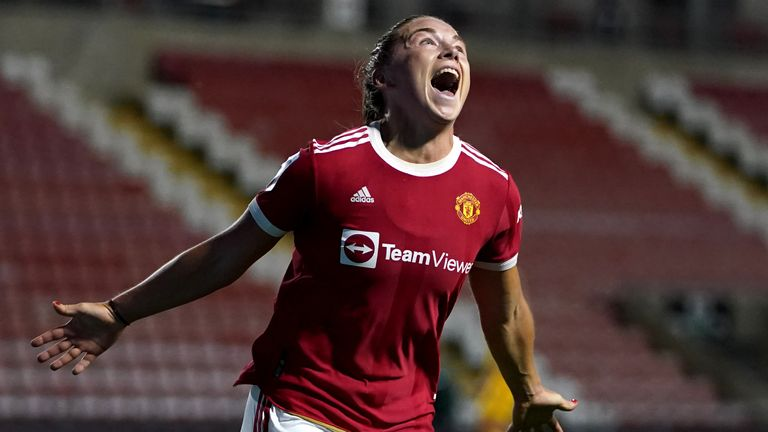 Kirsty Hanson celebrates giving Manchester United the lead against Reading in the WSL opener