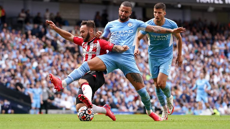 Kyle Walker and Adam Armstrong collided inside the penalty area