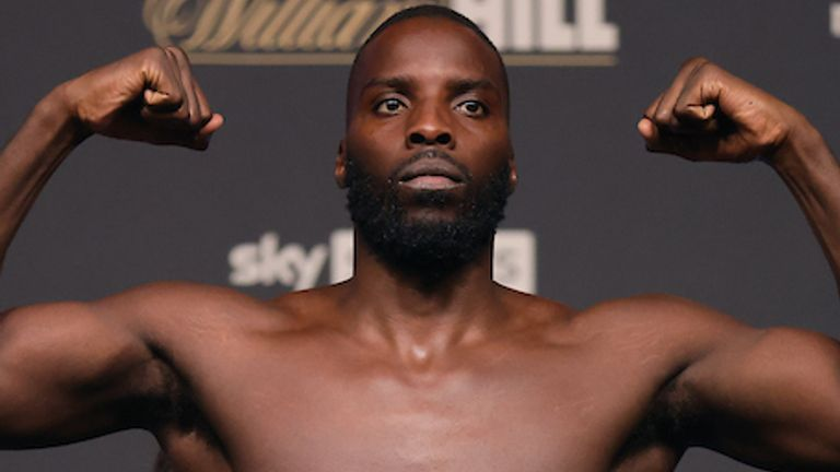 Lawrence Okolie and Dilan Prasovic Weigh In ahead of their WBO Cruiserweight World Title fight tomorrow night at the Tottenham Hotspur Stadium in London.24 September 2021.Picture By Ian Walton Matchroom Boxing.Lawrence Okolie