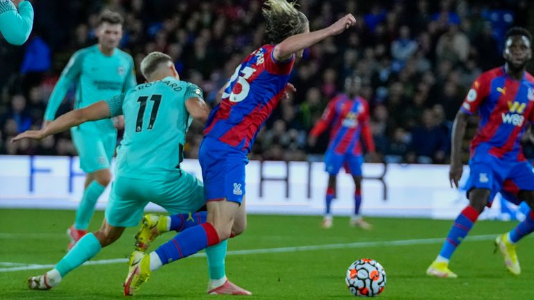 Brighton's Leandro Trossard conceded a penalty for a challenge on Crystal Palace's Conor Gallagher