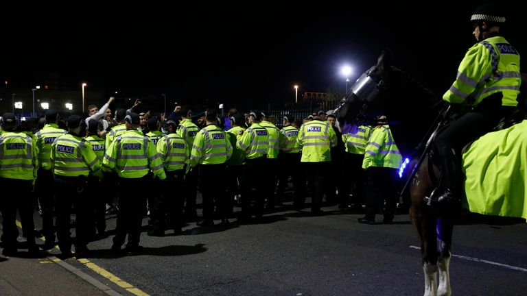 Police in Leicester were called into action after disturbances during the Europa League clash with Napoli