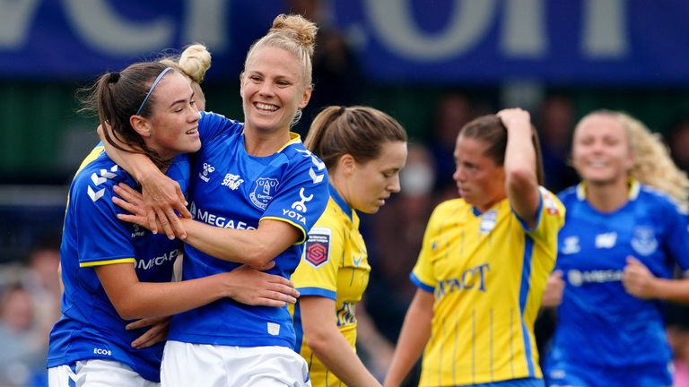 Everton's Leonie Maier (centre, right) celebrates scoring the opening goal