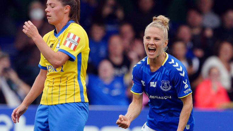 Everton's Leonie Maier (right) celebrates scoring the opening goal